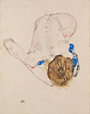Printing Drawing - Nude With Blue Stockings Bending Forward by Egon Schiele