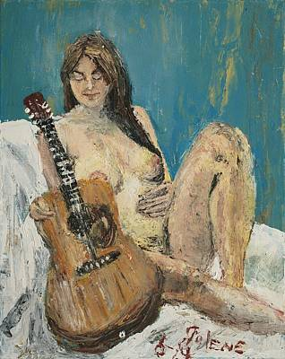 Nude Woman Guitar Painting - Nude With Guitar by Julene Franki