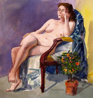 Painting - Nude With Orange Tree by Mark Lunde