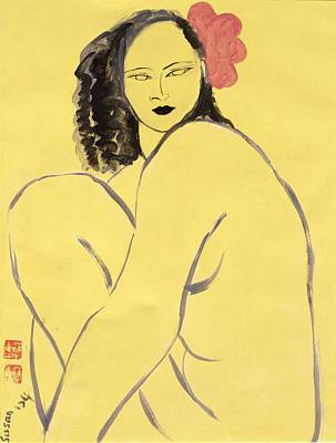 Nude With Pink Hibiscus, 2004 Acrylic On Paper Art Print by Susan Adams