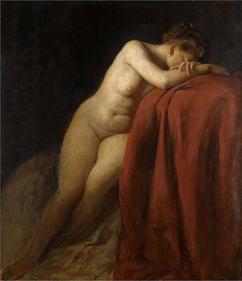 Red Drape Painting - Nude With Red Drape by Franz von Defregger