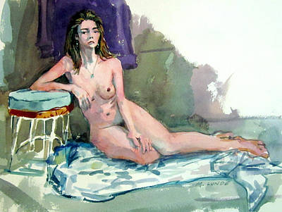 Painting - Nude With Wire Stool by Mark Lunde