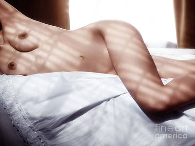 Nude Woman In Bed Artistic Body Closeup Art Print