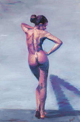 Nude Woman In Finger Strokes Art Print