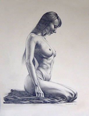Female Figure Drawings Drawings Drawing - Nude Woman Kneeling Drawn Figure Study  by Brent Schreiber
