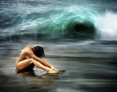 Nude Woman On Beach Art Print by M Swiet Productions