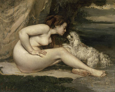 Painting - Nude Woman With A Dog by Gustave Courbet