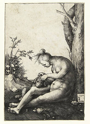 Buy Dog Art Drawing - Nude Woman With A Dog by Lucas van Leyden