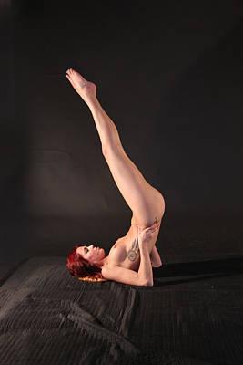 Nude Yoga- Shoulder Stand Art Print by Stephen Carver