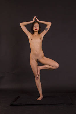 Nude Yoga- Tree Pose Art Print by Stephen Carver
