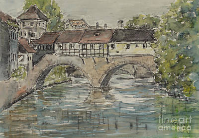 Art Print featuring the painting Nuernberg Bridge Of The Hangman by Alfred Motzer