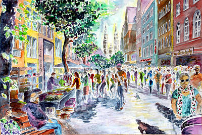 Art Print featuring the painting Nuernberg Karolinenstrasse Digitally Remastered by Alfred Motzer