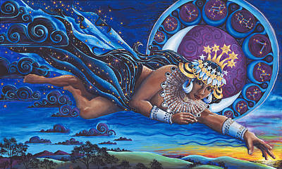 Egyptian Goddess Painting - Nuit Queen Of Heaven by Helga HedgeWalker