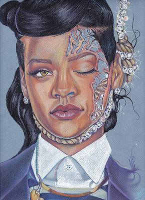 Rihanna Drawing - Numb Tragedy by Lance Rhodes