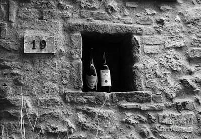 Wine Bottle Wall Art Photograph - Number 19 Bw by Mel Steinhauer
