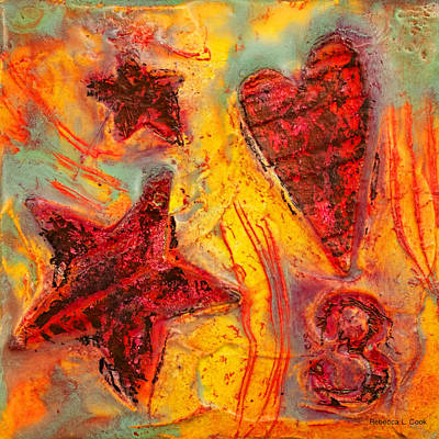 Red Abstract Art Mixed Media - Number 3 Encaustic Tiny Series by Bellesouth Studio