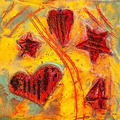 Red Abstract Art Mixed Media - Number 4 Encaustic Tiny Series by Bellesouth Studio
