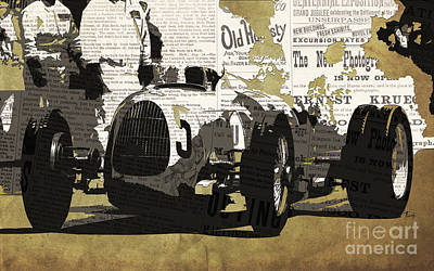 Transportation Digital Art - Number 5 race car to pits by Drawspots Illustrations