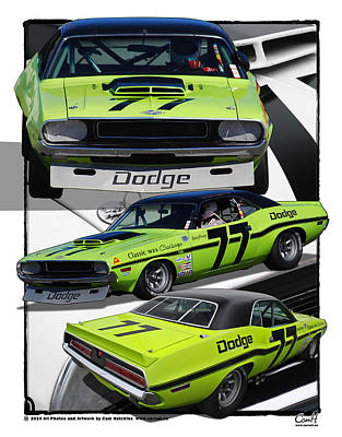 Number 77 Dodge Challenger Trans Am Racecar Print by Cam Hutchins