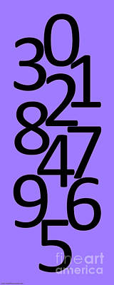 Digital Art - Numbers In Black And Purple by Jackie Farnsworth
