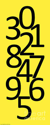 Digital Art - Numbers In Black And Yellow by Jackie Farnsworth