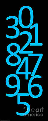 Digital Art - Numbers In Blue And Black by Jackie Farnsworth
