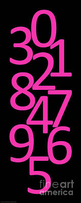 Digital Art - Numbers In Pink And Black by Jackie Farnsworth
