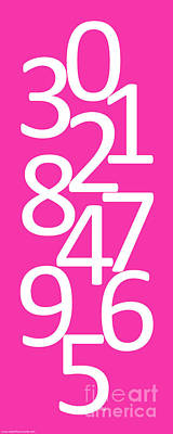 Digital Art - Numbers In Pink And White by Jackie Farnsworth