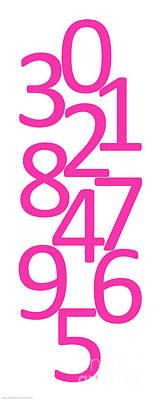 Digital Art - Numbers In Pink by Jackie Farnsworth