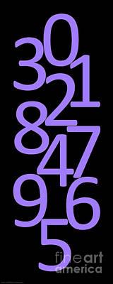 Digital Art - Numbers In Purple And Black by Jackie Farnsworth