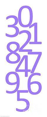 Digital Art - Numbers In Purple by Jackie Farnsworth