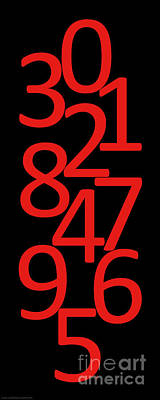 Digital Art - Numbers In Red And Black by Jackie Farnsworth