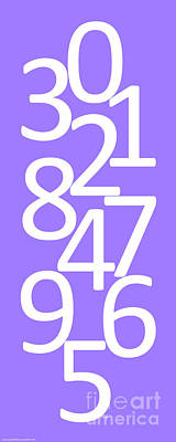 Digital Art - Numbers In White And Purple by Jackie Farnsworth