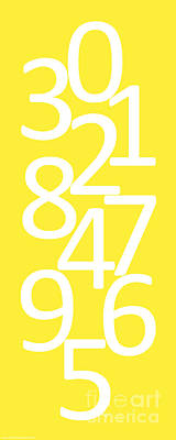 Digital Art - Numbers In White And Yellow by Jackie Farnsworth