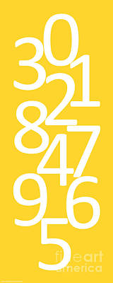 Digital Art - Numbers In Yellow And White by Jackie Farnsworth