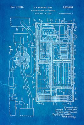 Car Photograph - Numero Car Air Conditioning Patent Art 1942 Blueprint by Ian Monk