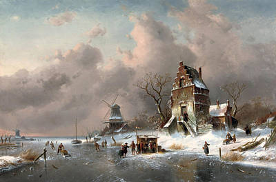 Charles River Painting - Numerous Skaters Near A Koek En Zopie On A Frozen Waterway By A Mansion by Charles Leickert