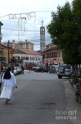 Photograph - Nun And Cathedral - Shkoder by Phil Banks
