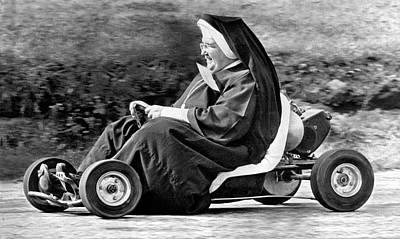 Go Kart Wall Art - Photograph - Nun On A Go-kart by Underwood Archives