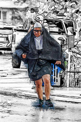 Mixed Media - Nun On The Run by John Haldane
