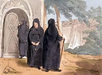 Religious Drawing - Nuns, 1804 by John Augustus Atkinson