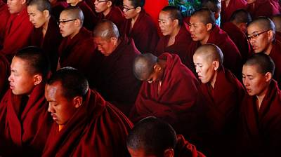 Photograph - Nuns At Kopan Monastery by Greg Holden