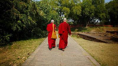 Photograph - Nuns In Sarnath by Greg Holden