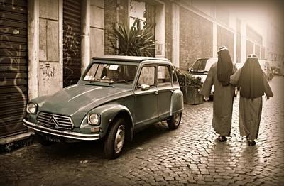 Nuns With Vintage Car Art Print