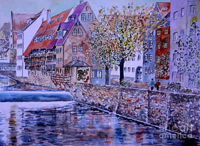 Art Print featuring the painting Nuremberg Walk By The Riverside by Alfred Motzer