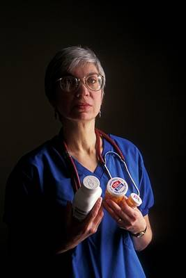 Nurse With Anti-hiv Medications Print by Jim West
