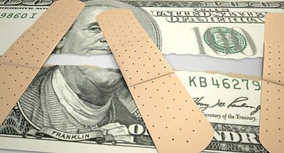 Wound Digital Art - Nursed Torn Us Dollar by Allan Swart