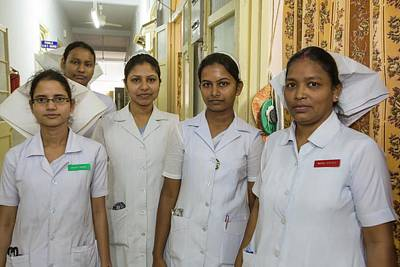 Nurses At The Ramakrishna Mission Art Print by Ashley Cooper