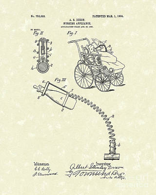 Drawing - Nursing Aid 1904 Patent Art by Prior Art Design