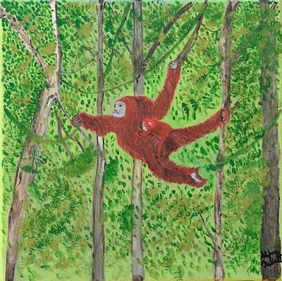 Ape. Great Ape Painting - Nurturing Thru The Canopy by Stefanie Nellett